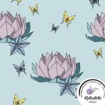 Puuvillane trikotaaž. Origami Lotus mündirohelisel taustal