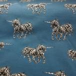 Puuvillane trikotaaž. Ükssarv sinisel taustal