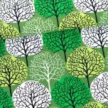Puuvillane trikotaaž. Aastaajad, metsarohelisel taustal õunarohelises ja rohelises