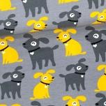 Puuvillane trikotaaž. Koer Sessi, hallil taustal kollases ja tumehallis
