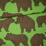 Puuvillane trikotaaž. Karu Ursa, metsarohelisel taustal