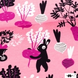 Puuvillane trikotaaž. Jänesed aiasaadustega roosal taustal