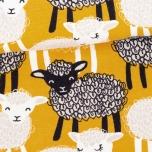 Sweatshirt knit. Lambs, ochre yellow