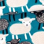 Sweatshirt knit. Lambs, petrol
