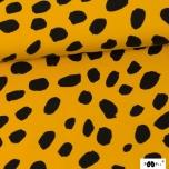 Sweatshirt knit. Cheetah dots, ochre - black