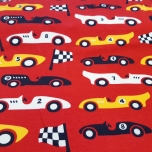 Jersey. Race cars, red