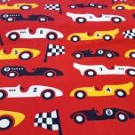 Puuvillane trikotaaž. Võidusõiduautod punasel taustal