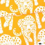 Puuvillane trikotaaž. Gepard, päikesekollasel taustal