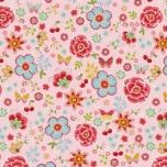 Poplin. Õnnelikud tunded heleroosal taustal (väiksemad lilled)