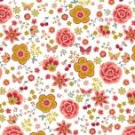 Poplin. Õnnelikud tunded valgel taustal (väiksemad lilled)
