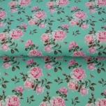 Poplin. Roosad roosid rohelisel taustal