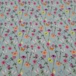 Poplin. Lilled ja liblikad rohelisel taustal