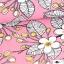 Puuvillane trikotaaž. Õunaaed roosal taustal