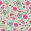 Poplin. Õnnelikud tunded mündirohelisel taustal (väiksemad lilled)